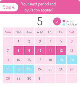 Step 4. Your next period and ovulation appear!